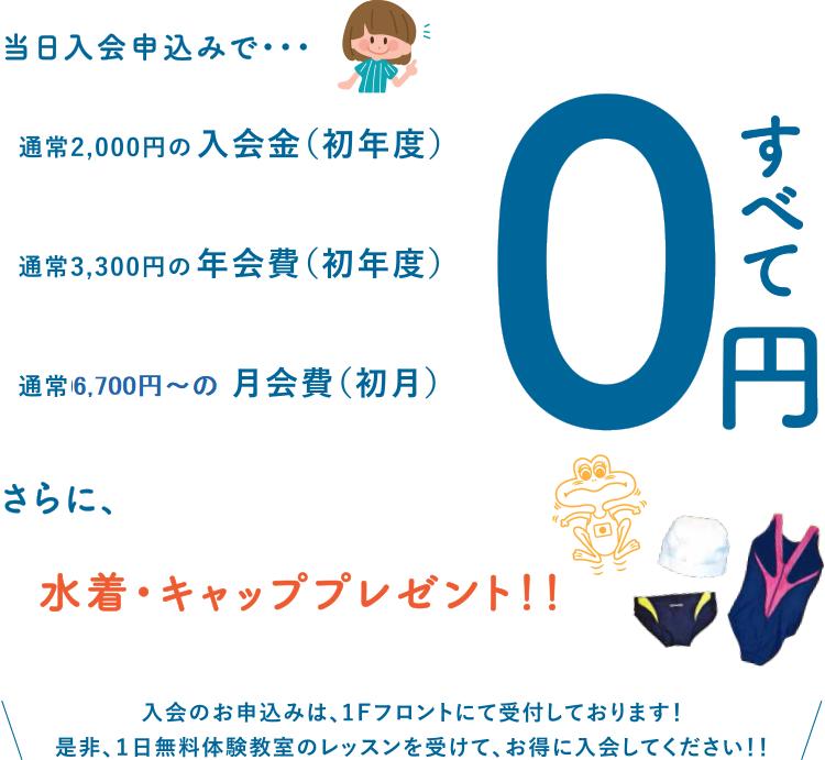 当日入会申込みで入会金・年会費・月会費が0円